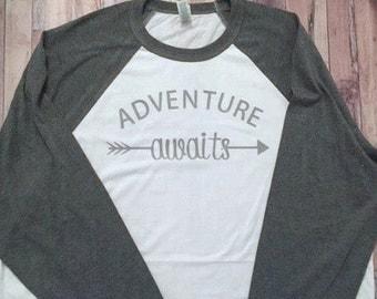 Adventure Awaits - 3/4 Raglan Shirt - Baseball Shirt - Tribal Arrow