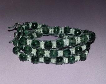 Triple-wrap Moss Agate boho Bracelet