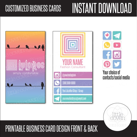 Printable lularoe business cards instant digital download for Lularoe name cards