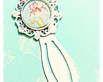 Cottage Chic White Bookmark Botanical