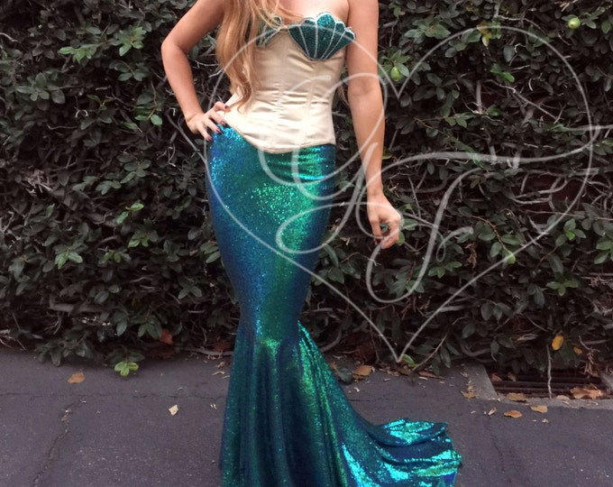 Featured listing image: Adult Sequin Mermaid Tail Halloween Costume - DELUXE Maxi Skirt w/ Train