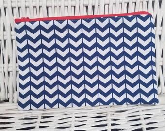 Blue and white chevron zipper pouch