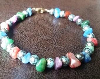 Multi-Colored Stone Bead Bracelet