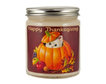 Thanksgiving Candle, Custom Scented Candle, Cat Candle, Container Candle, Soy Candle, Vintage Thanksgiving Candle, Holiday Candle,