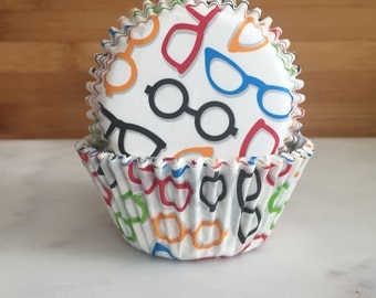Glasses Cupcake Liners, Standard Sized, Baking Cups (50)