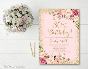 80th birthday invitations | etsy, Birthday invitations