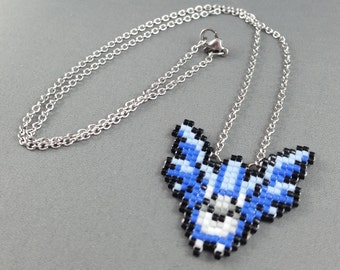 Articuno Necklace - Pixel Necklace Pokemon Necklace Pixel Jewelry 8 bit Necklace Team Mystic Necklace Video Game Necklace Legendary Pokemon