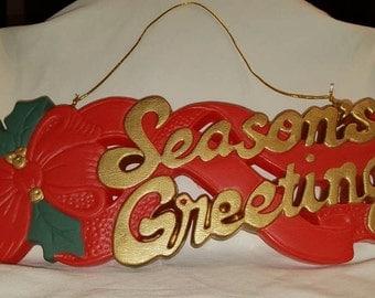 """Vintage Plastic """"Seasons Greetings"""" Wall Hanging or Door Decoration"""