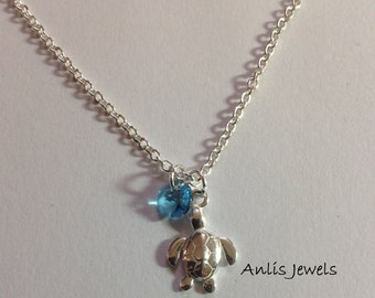 925 sterling silver turtle charm silver chain with swarovski