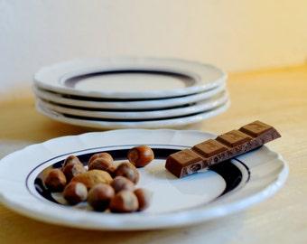 Plates, Dishes, Porcelain plate, Dinnerware set, Striped plate, dinner plates, Ceramic plate, Cake plate, Kitchen decor, Blue plate, Italian
