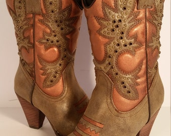 Size 7.5 Women's Cowboy Boots Very Volatile Rhinestone Hand Painted Bronze and Copper