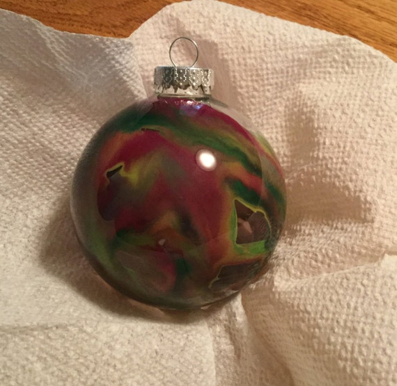 Red, green 3in glass ornament