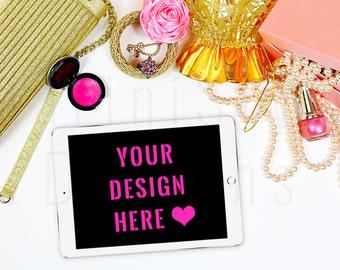 Pink & Gold Styled Desktop, White Desk, iPad Mockup, Feminine Styled Stock Photography, Stock image, iPad stock image, Flat lay, 26
