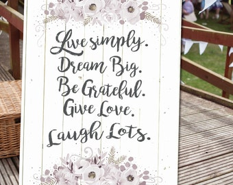 Live simply Wedding sentiment canvas print