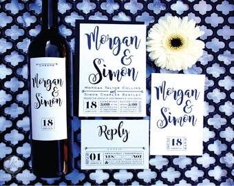 Simple Elegant Invitation and Wine Label - sample set