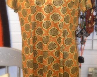 1970's original vintage retro dress with large collar L summer dress  Autumn dress