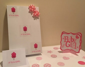 Large White Baby Shower Gift Box w/ Pink Balloons