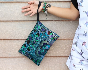 Women Fashion Blue Clutch With Embroidered Fabric