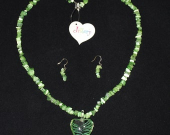 Green Heart Necklace with Matching Earrings