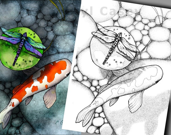 Printable coloring page koi fish pond with dragonfly on for Koi pond color