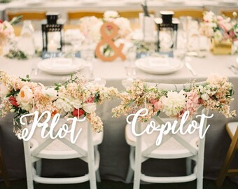 Wedding Decor.Pilot and Co- Pilot. Chair Signs.