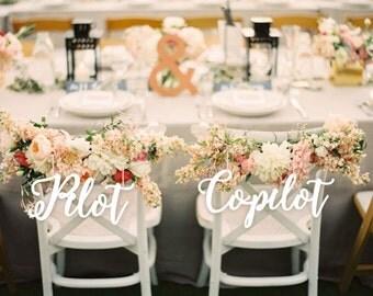 Wedding Decor.Pilot and Co- Pilot. Chair Signs.