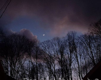 Instant Download. Digital. Photography. Moon, clouds. Night.