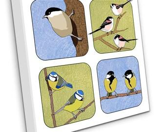 Small British Birds (four) on Canvas (V2)