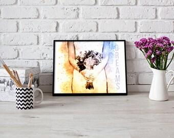 Dreams Inspirational Print, Bridal Wall Art, Bride Illustration, Fashion Printable Art, 8x10 Instant Download