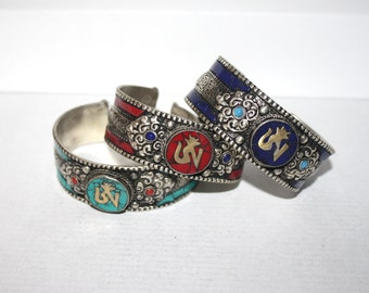 Om Bracelets, Turquoise Bracelet, Coral Bracelet, Lapis bracelet, Boho bracelet, Tribal Bracelet, Gypsy bracelet, Yoga bracelet