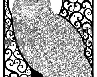 Printable Owl coloring page Instant download adult coloring page