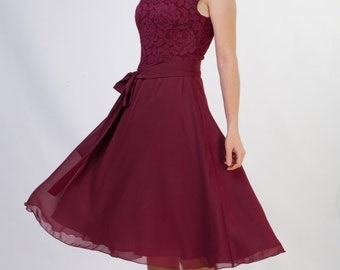 Short burgundy lace dress Short bridesmaid dress Short burgundy bridesmaid dress Burgundy dress short 15+ colors Knee length dress