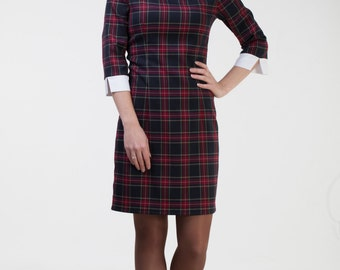 Cute black plaid dress Midi black dress white collar Black tartan dress  White collar dress Black pencil dress