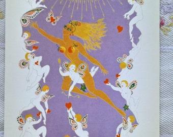 Vintage reproduction art deco 'Erte' printed artwork postcard