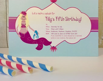 Pack of 16 Mermaid Swimming Party Personalised Invites or Thank You Cards