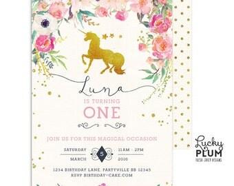 Unicorn Birthday Invitation / Horse Birthday Invitation / First Birthday Invitation / My Little Pony Invitation / Pink Gold Invitation UC01