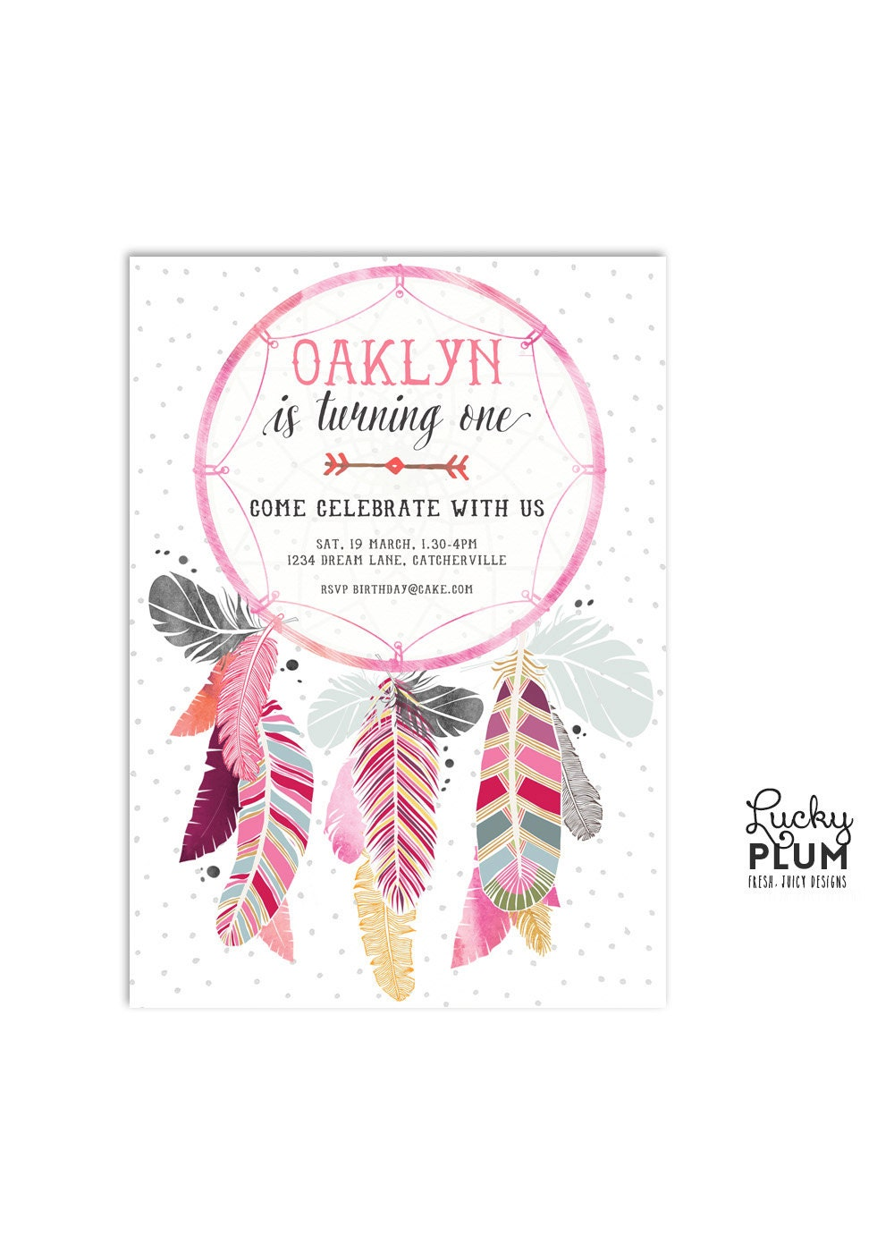 Dream Catcher Baby Shower Invitation / Boho Baby Shower
