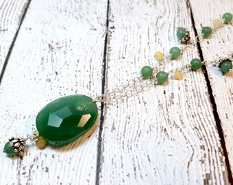 Green Adventurine & Yellow Aragonite Necklace, Meditation Necklace, Anniversary Necklace, Gemstone Necklace, Gift For Her, Bali Silver