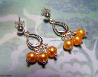 Pearl Chandelier Earrings, Gold Pearl Chandelier, Tiny Chandelier Earrings, Wedding Jewelry, Pearl Post Earrings, Silver Chandelier