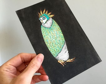 Owl Illustration Original Drawing Art - No. 20 - Markers and Ink Blue Green Aqua Black and White Natural colors - affordable art OOAK