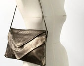 Double Envelope Clutch Cross Body  - Metallic Bronze Recycled Leather