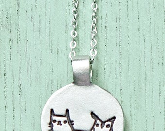 OWL & PUSSYCAT Necklace The Owl and The Pussycat Jewelry, Edward Lear, Cat Owl Necklace, sterling silver dainty necklace dainty silver charm