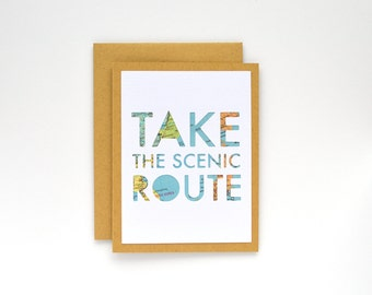 Road Trip Stationery, Take the Scenic Route Map Card, World Traveler Gift, Graduation Gift for Study Abroad Student, Modern Design