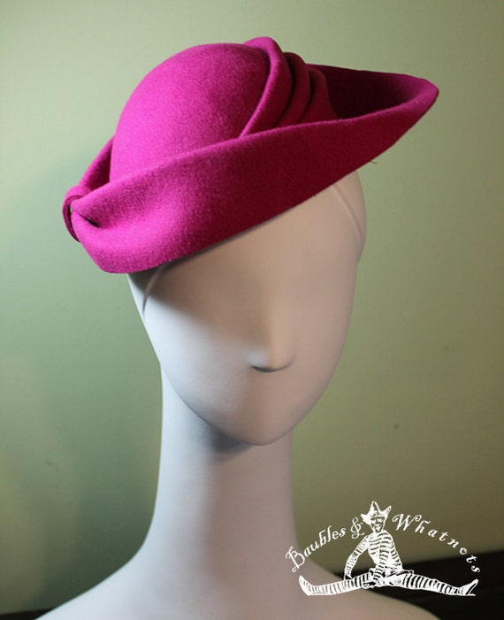 Hot Pink Women's Wool Hat with Sculptural Details - 1940s Style Magenta Women's Wool Hat - OOAK