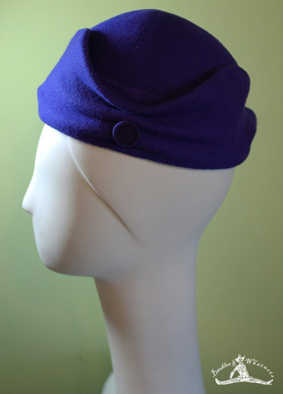 Dark Purple - Sculpted Women's Wool Hat OOAK Boho - Small - Vintage Inspired