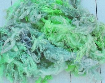 Super Curly Crimpy BFL x Finn Lamb Locks - Hand Dyed - Lots of Texture - Seafoam - 2.7 Ounces