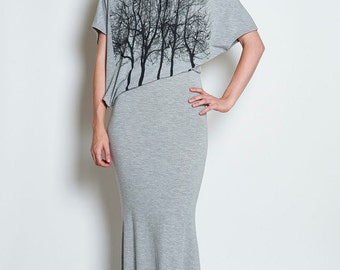 Fairytale Trees Grey Asymmetrical Dress