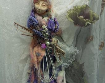 Springtime Textile, Art doll ,Secret Garden, Spirit doll, Shabby Wall decoration, OOAK art doll