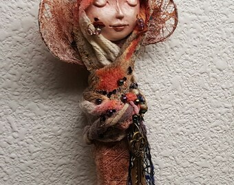 Dragonfly Fetish, Nature Spirit, ooak Art doll,  Garden Spirit,  Figurative Sculpture, Mix Media, Shakti spirit, bridal shower