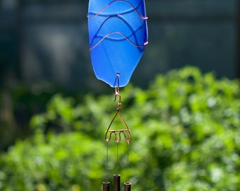 Wind Chime Blue Glass and Copper with Brass Chimes, stained glass, sea glass, beach glass windchimes